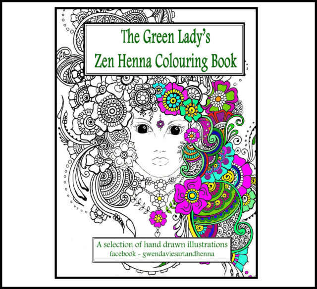 Zen Henna Adult Colouringbook Anti Stress Green Lady Garden Calm Art Therapy