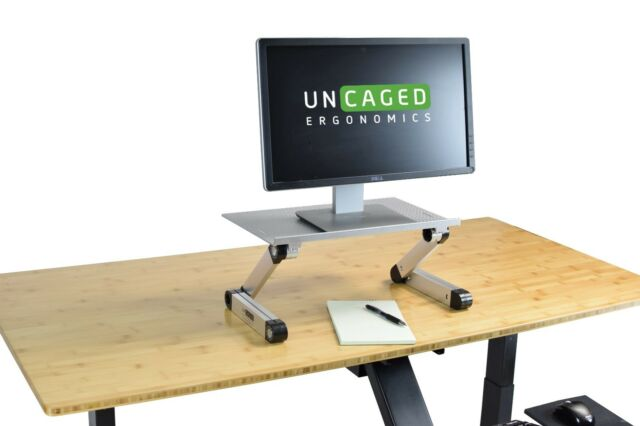 silver adjustable height desktop computer monitor riser