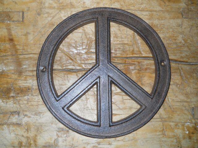 Cast Iron Hippie Peace Sign Flower Power Plaque Wall Decor 8 Inch