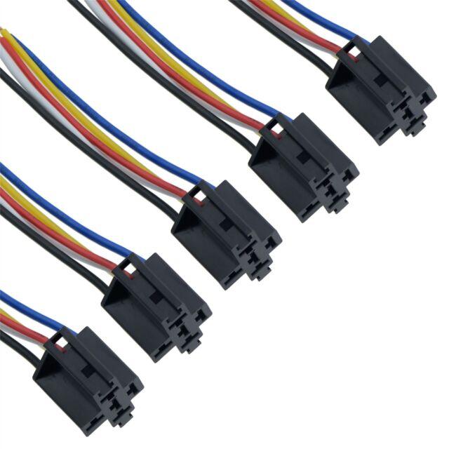 5 X Prewired 4 5 Pin Automotive Relay Socket Holder 40a 12v eBay