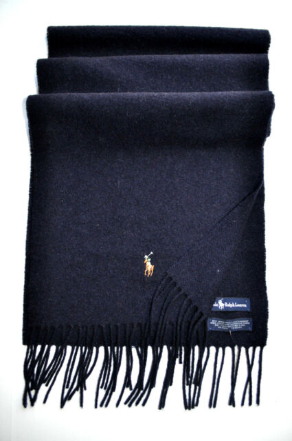 ... hot nwt polo ralph lauren mens lambs wool scarf business wrap navy  multi pony gift d7121 3ddb55c3e74b
