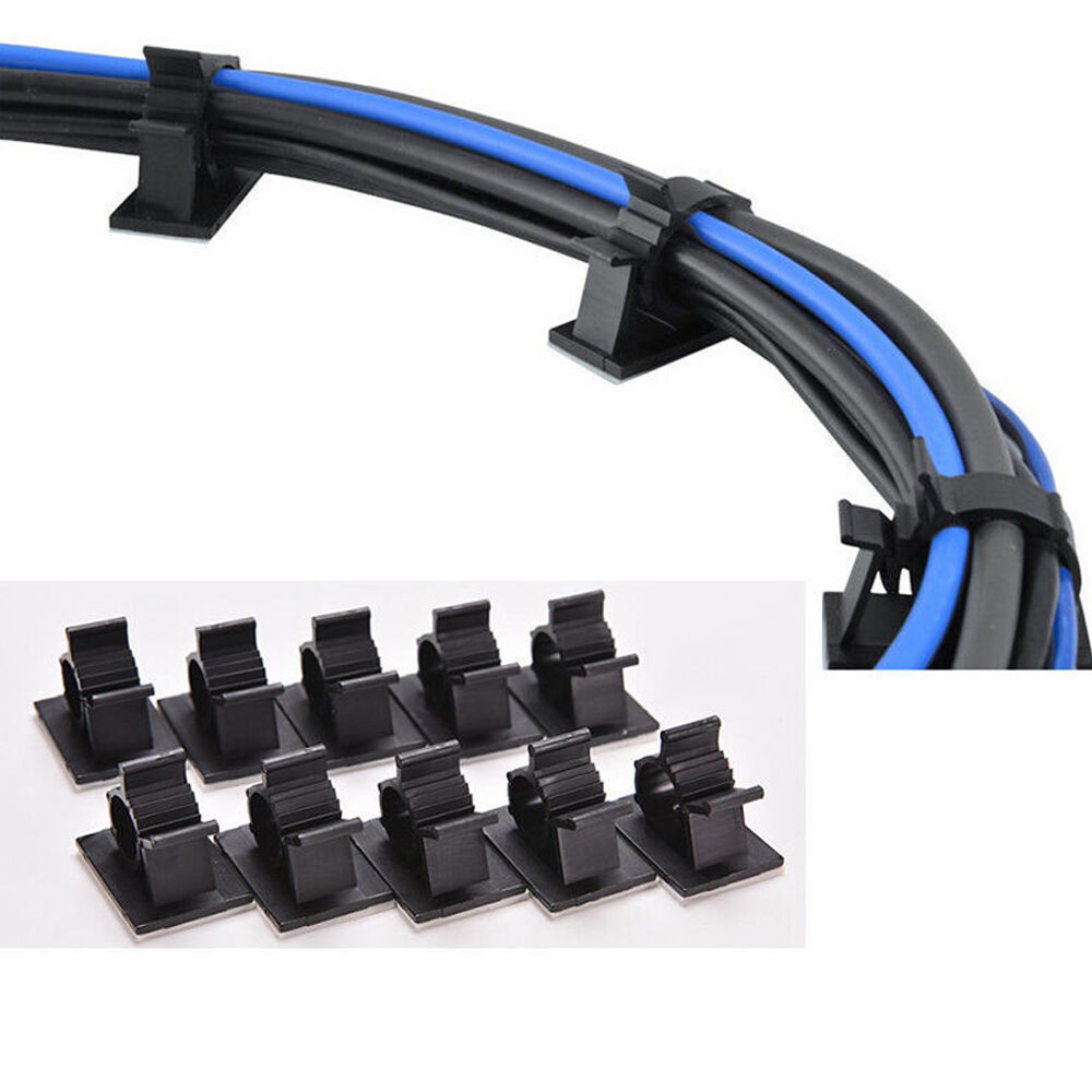 10pcs/lot Black Plastic Wire Fixed Car Line Clip Self Adhesive Cord ...
