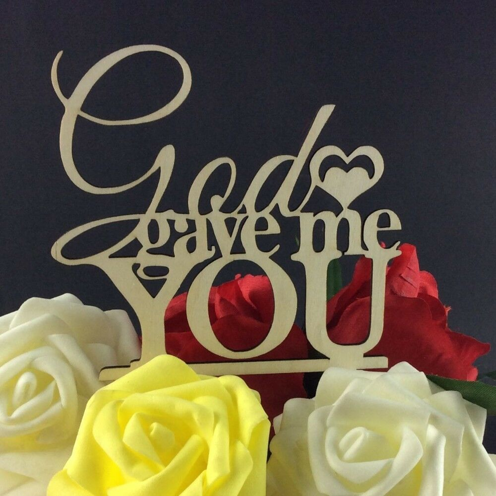 Usa sales god gave me you cake topper engagement party wedding picture 1 of 3 junglespirit Images
