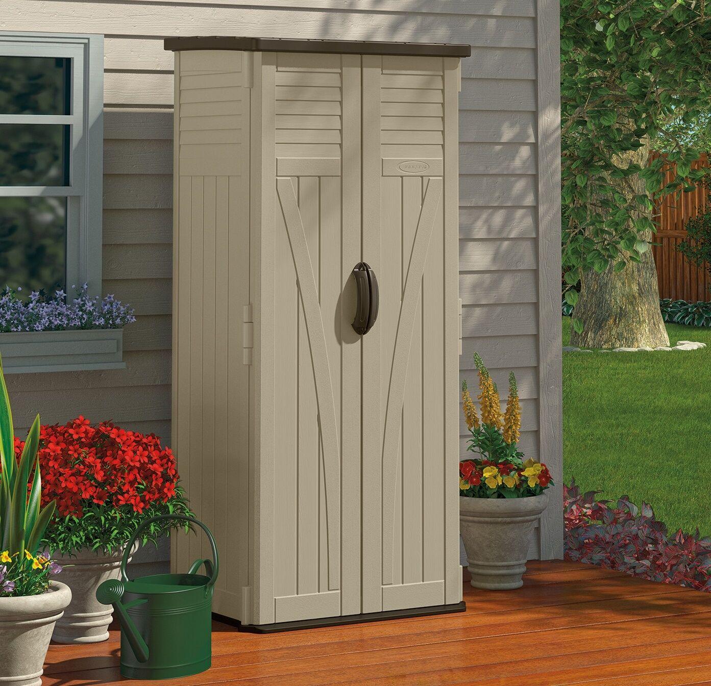 Outdoor Storage Cabinet Garden Shed Tools Patio Vertical Backyard ...