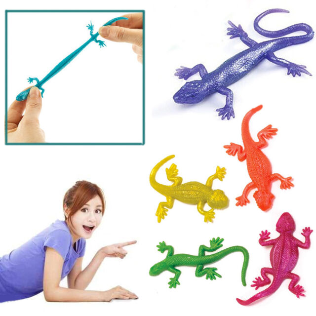 Fun Stretchy Lizards Kids Party Toy Animal Loot Bag Filler Assorted Colour Prank
