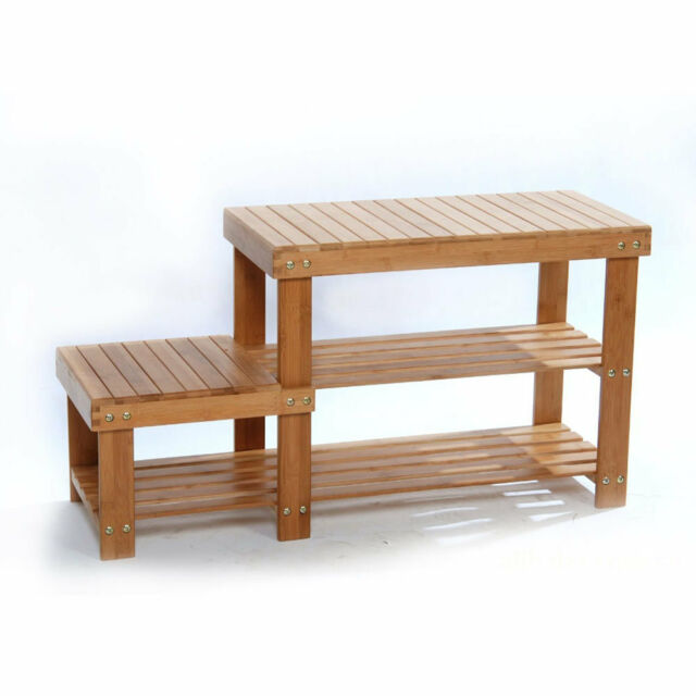 2 Tier Shoe Bench Boots Storage Seat Chair Rack Organizer Shelf Boot  Sneakers US