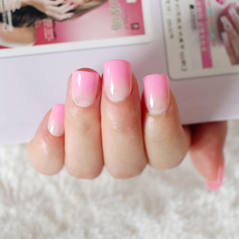 French Pink Fake Nails Full Cover Nail Art Tips Gradient Candy False ...