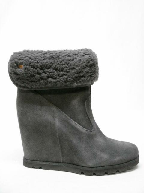 NIB UGG AUSTRALIA KYRA GRANITE SUEDE LEATHER SHERLING WEDGE ANKLE BOOTS 8  WOMENS