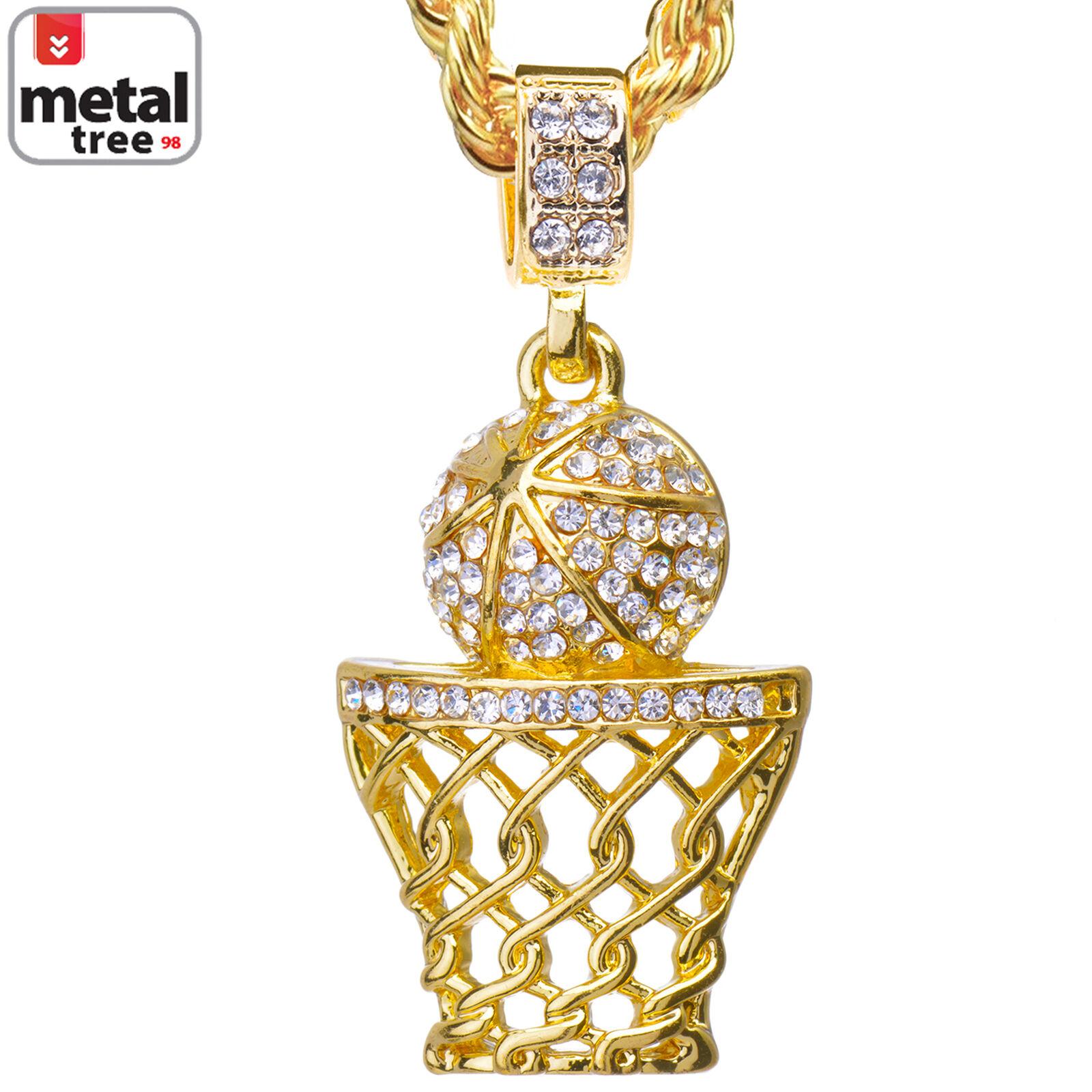 Basketball pendant ebay mens cz 14k gold plated basketball hoop pendant 24 mozeypictures Images