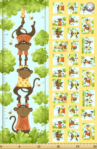 Susybees Ollie Growth Chart 100 Cotton 42 X 30 Fabric By The