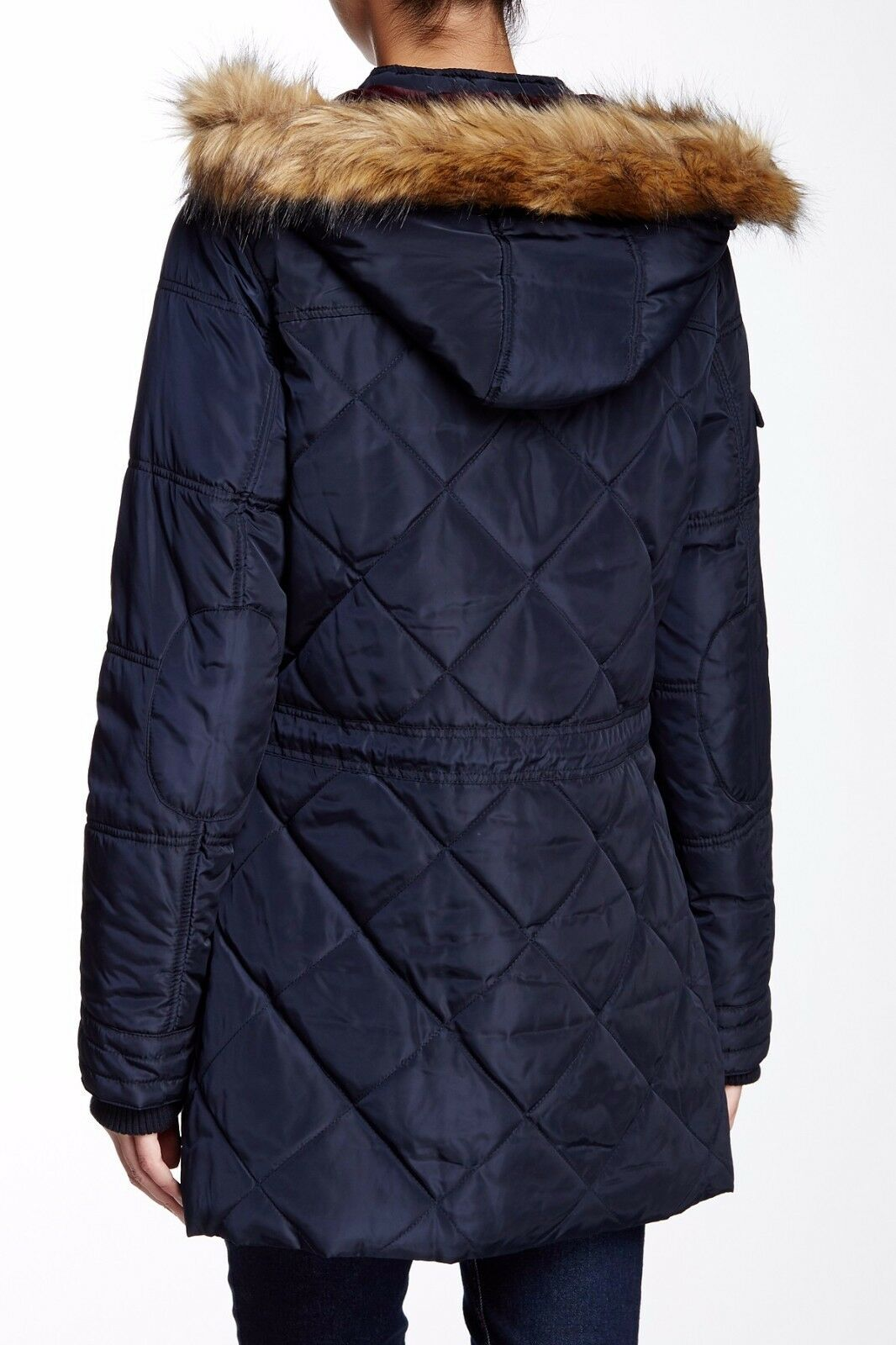 With Tag - Levi's Faux Fur Hood Diamond Quilted Navy Parka Size S ...