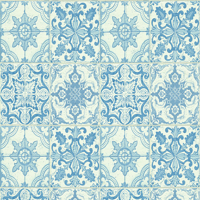 Wallpaper Moroccan Style Tile on Roll Tiling Blue White Kitchen Bathroom Wall