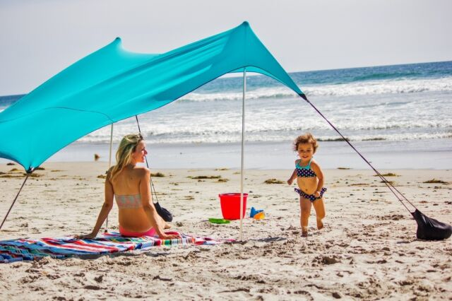 Neso Tents Beach Tent with Sand Anchor Portable Canopy Sun Shelter (Teal) & NESO Beach Tent With Sand Anchor Portable Canopy for Shade - Teal ...