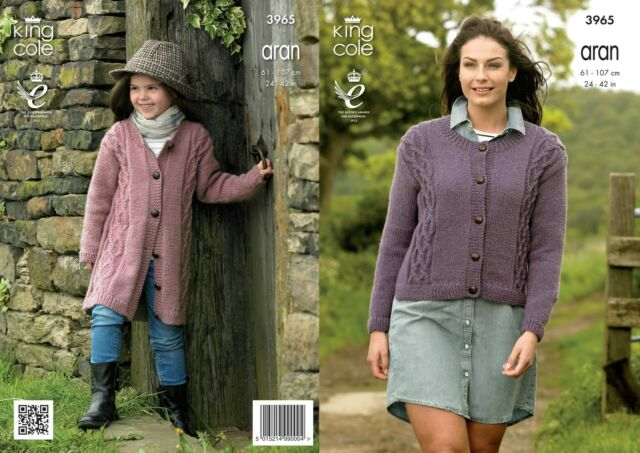 King Cole 3965 Knitting Pattern Cable Front Cardigans in King Cole Fashion Aran