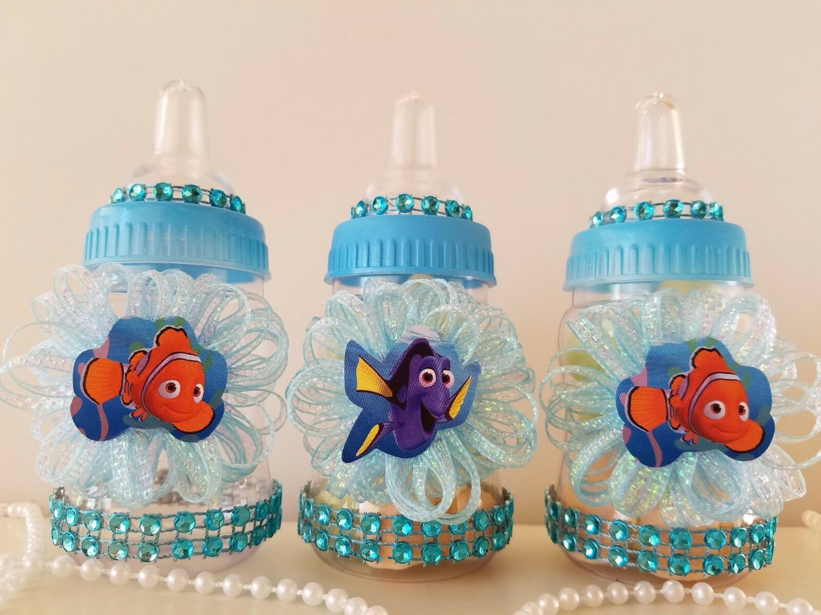 Finding Dory Blue Fillable Bottles Baby Shower Game Under The
