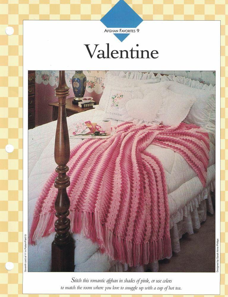 Romantic Valentine Afghan To Crochet Single Pattern Vanna White Ebay