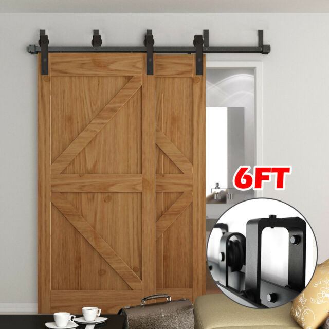 6ft66ft8ft Rustic Bypass Sliding Barn Wood Double Door Hardware