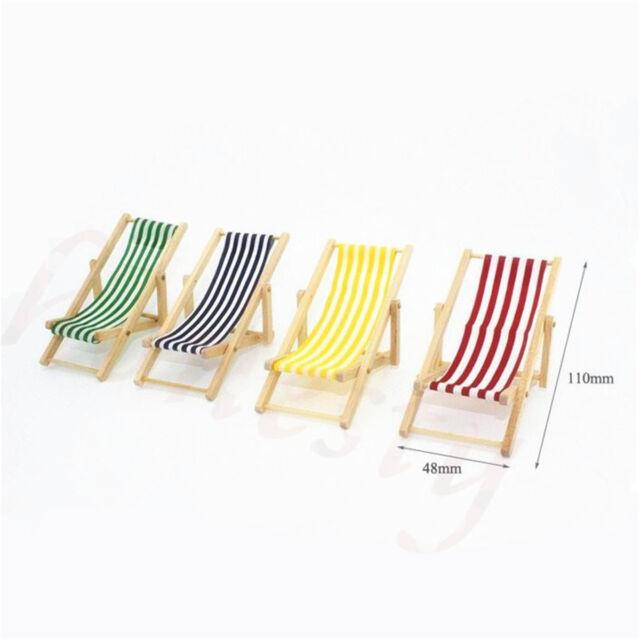 1:12 DIY Dolls House Miniature Foldable Wooden Deckchair Lounge Beach Chair