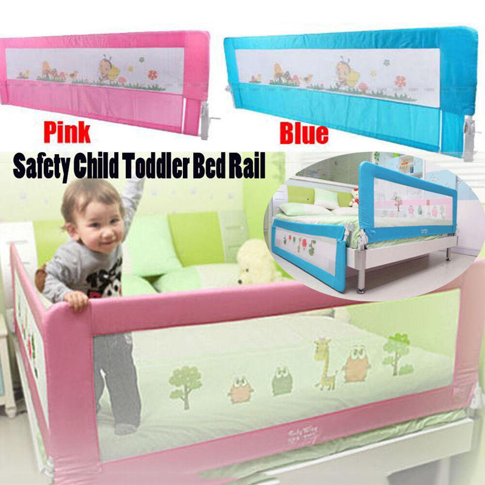 Safety Child Toddler Bed Rail Baby Bedrail Fold Cot Guard Protection Pinkblue 150cm Blue