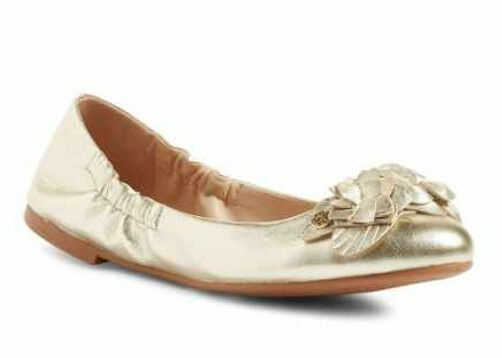 NIB TORY BURCH Blossom Floral Spark Gold Leather/Logo Ballet Flat Shoes Size 6.5