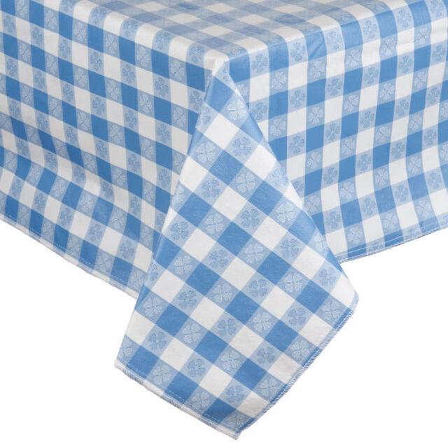 25 Yard Roll Blue And White Gingham Checked Vinyl Table Cover With Flannel  Back
