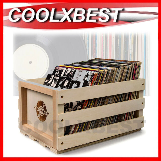 NEW CROSLEY VINYL RECORD STORAGE CRATE CASE SOLID WOOD HOLDS 75