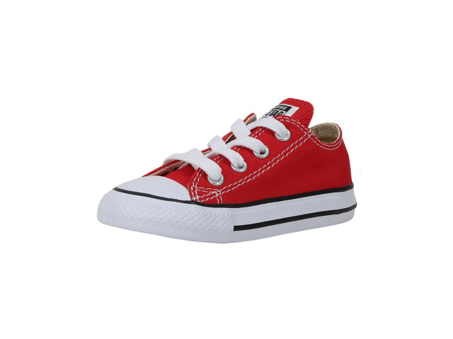 Converse Shoes Chucks Infants Babies Toddlers Red Canvas Boys Girls Shoes