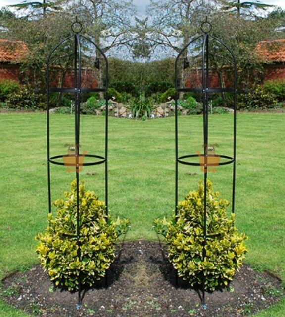 Awesome Set Of 2 Garden Obelisk Climbing Plants Support Roses Metal Arch 1.9m High  Pair