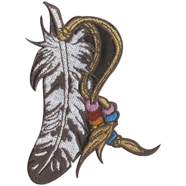 Aufnaeher Stickemblem Applikation 5,5 x 11 cm Indianer Feder Haarschmuck 04043