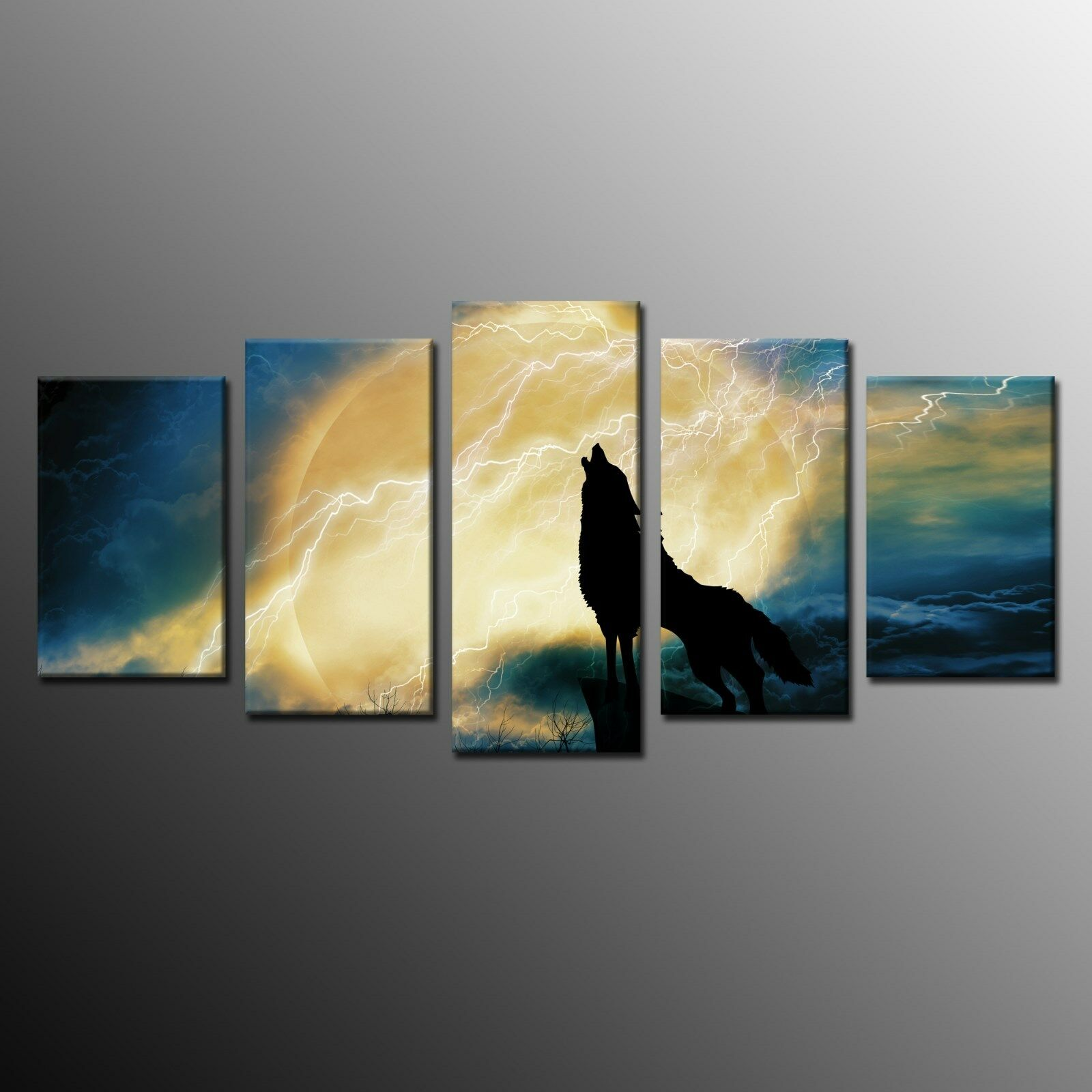 Framed Howling Wolf Full Moon Canvas Print Wall Decor Art Giclee ...