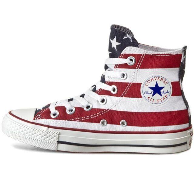 Scarpe sportive uomo/donna Converse All Star HI M8437C bandiera USA canvas