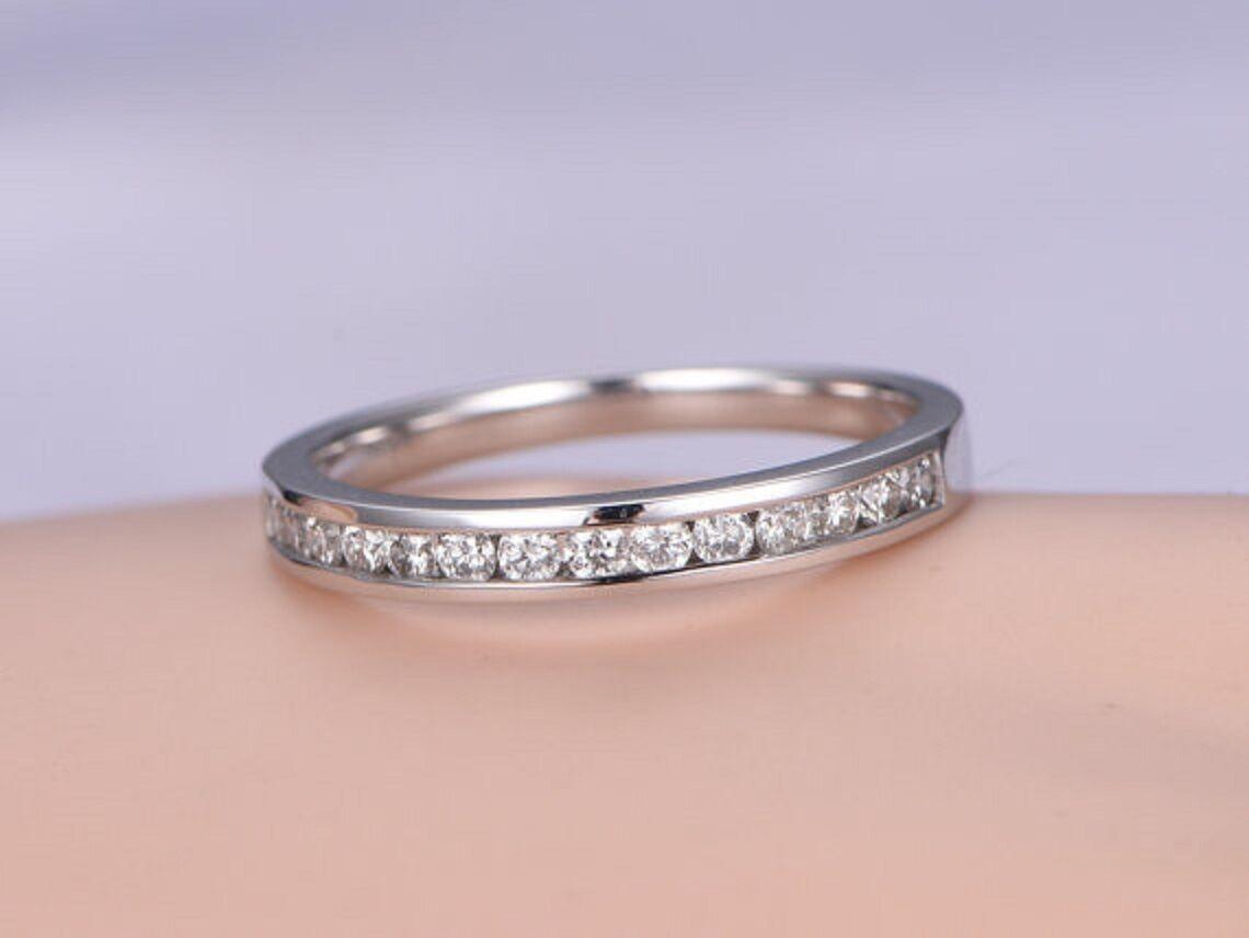 0.25 Carat White Round Diamond Solitaire Half Eternity Ring 14k ...