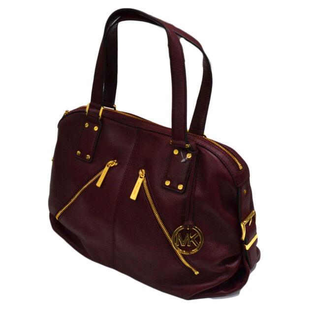 Michael Kors Handbag Purse Portland Leather Claret Large Satchel 38f2cpls3l Mk