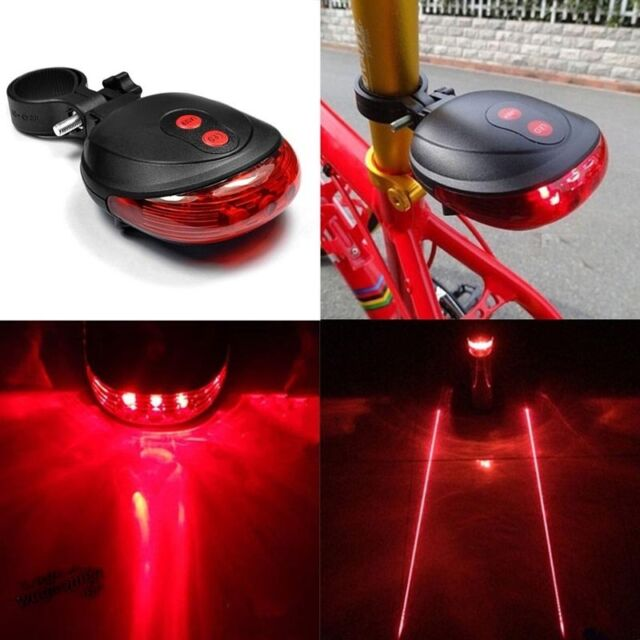 5 LED Cycling Bicycle Bike Tail Flashing Lamp Light Rear Safety Warning 2 Laser