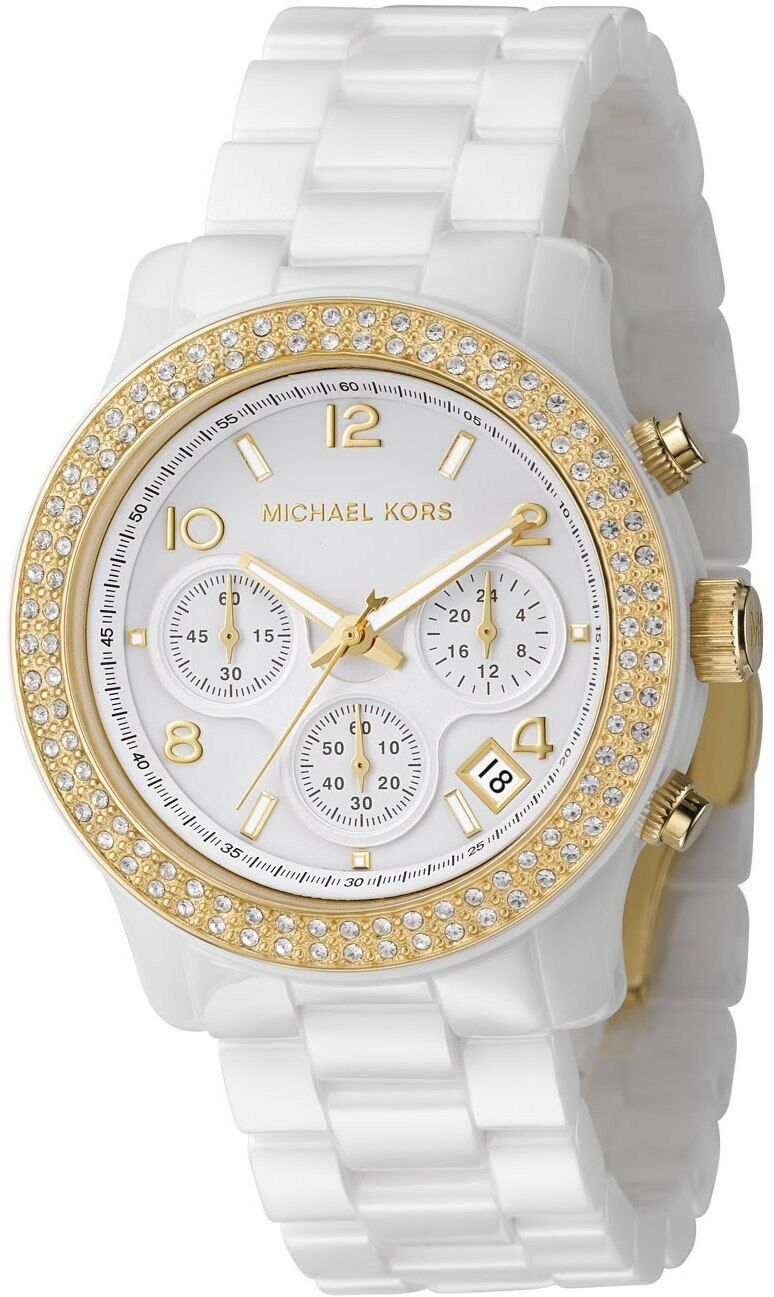 e733f69f06240 Michael Kors Women s MK5237 Glitz Chronograph Crystal White Ceramic Watch