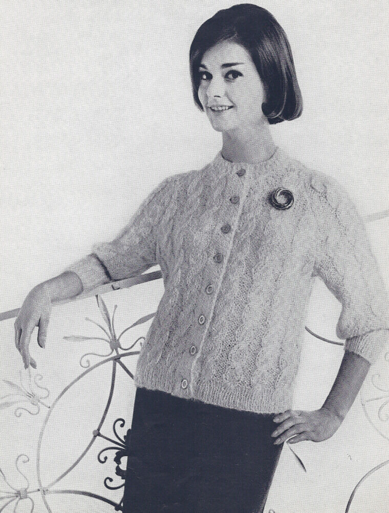 Vintage Knitting Pattern To Make 50s Mohair Cable Cardigan Sweater
