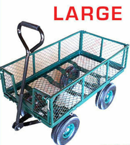 LARGE METAL 4 WHEEL GARDEN CART TROLLEY W / DROP DOWN MESH SIDES *SPECIAL  OFFER
