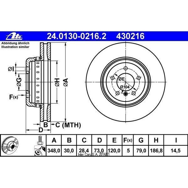 Bremsscheibe 1 Stück ATE 24.0130-0216.2