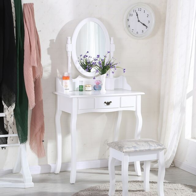 Dressing Table Home Round Mirror Makeup White Desk Stool
