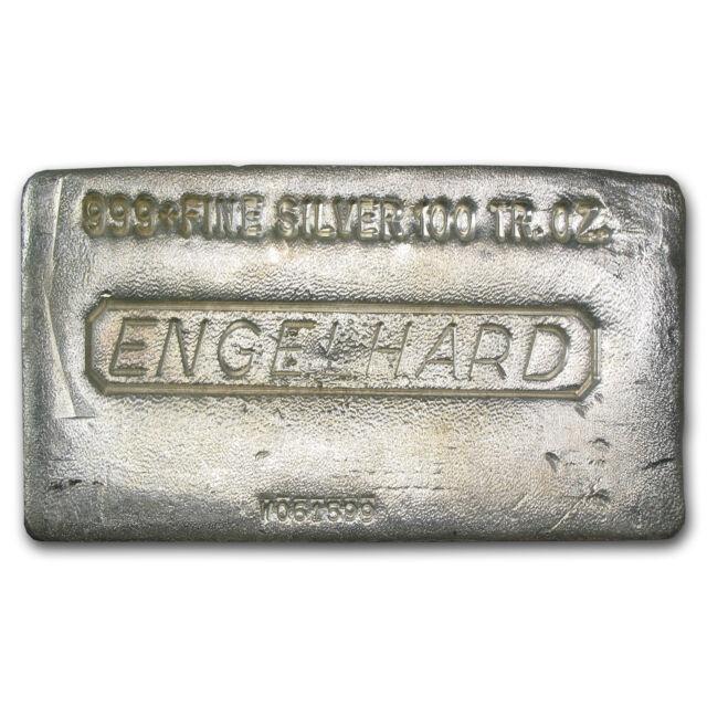 100 Oz Engelhard Silver Bar Poured 999 Fine Ebay