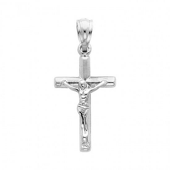 Cross pendant 14k white gold jesus crucifix charm small ebay audiocablefo