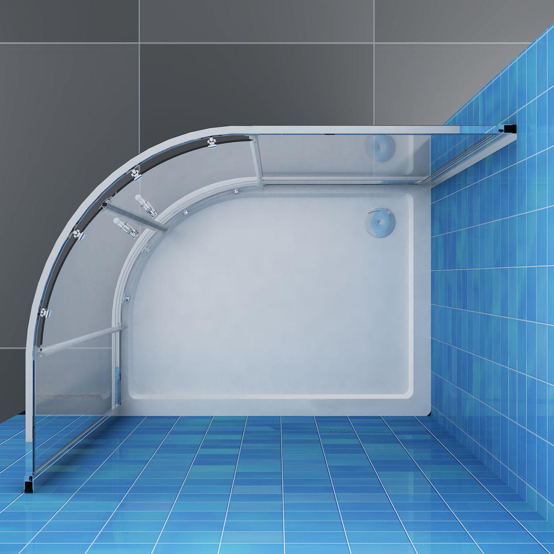 900x1000x1900mm Corner Round Shower Screen Enclosure Offset Quadrant ...