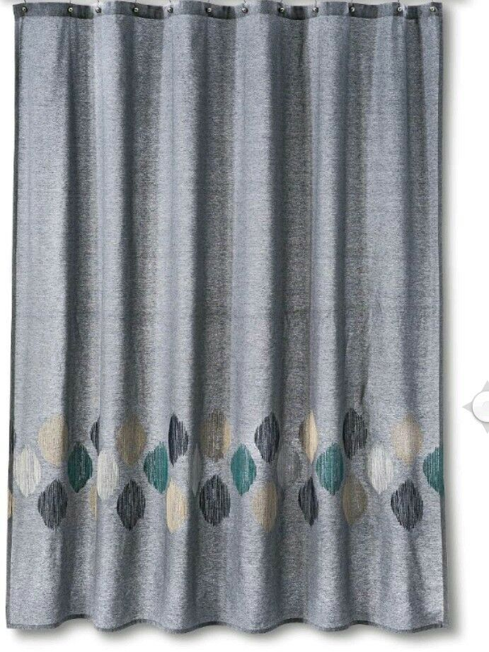 Threshold Target Gray Embroidered Stitch OGEE Shower Curtain | eBay