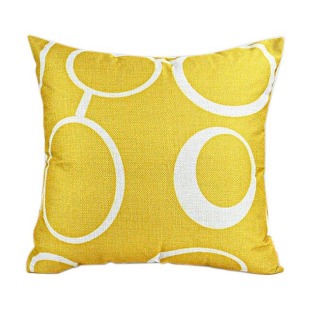 Decorative Pillow Case Mustard Yellow Geometric Fall Autumn