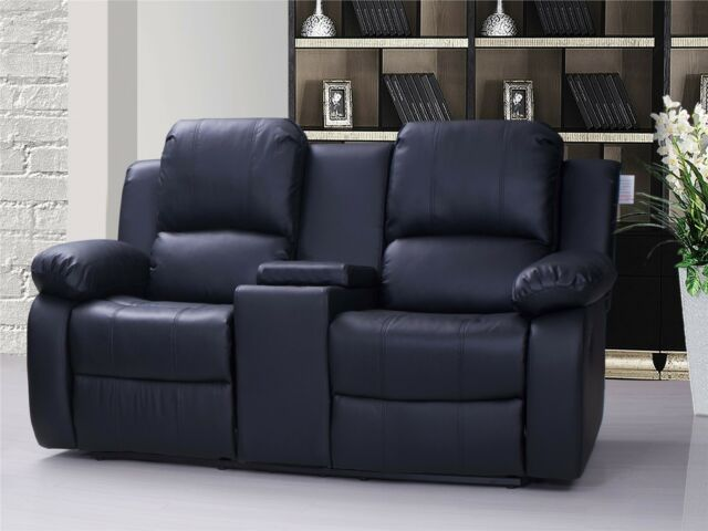 Valencia 2 Seater Leather Recliner Sofa With Drinks Console Black