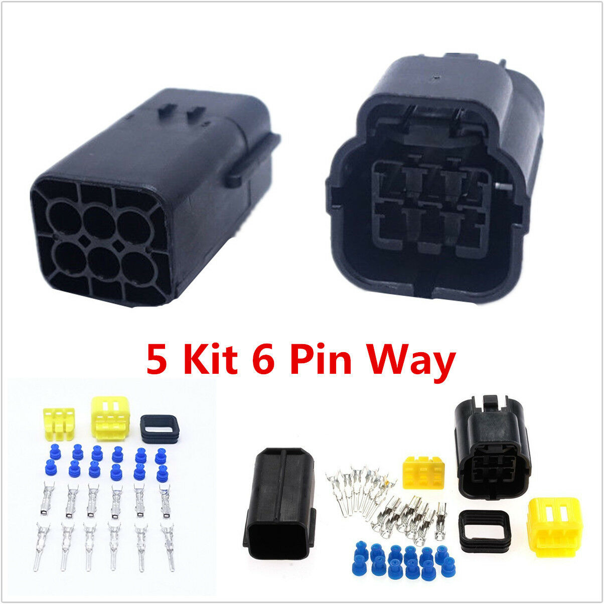 Autos 5 Kit 6 Pin Way Waterproof Electrical Wire Connector Plug ...