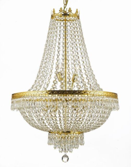Great 9 LIGHT FRENCH EMPIRE CRYSTAL CHANDELIER LIVING DINING ROOM FOYER KITCHEN  OFFICE