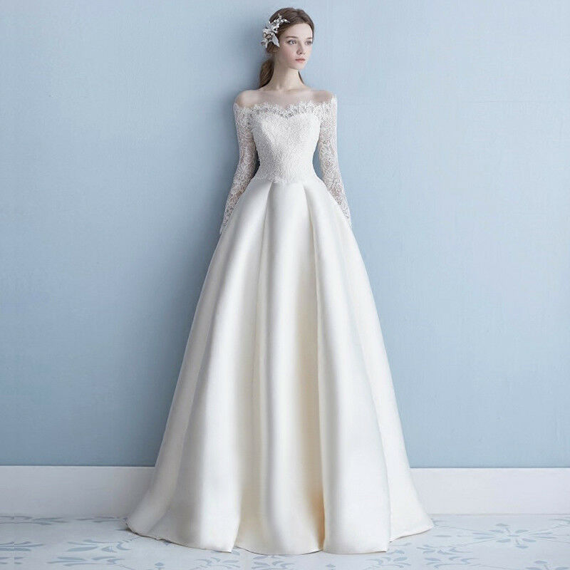 Long Sleeve Lace a Line off Shoulder Bridal Gowns White Wedding ...