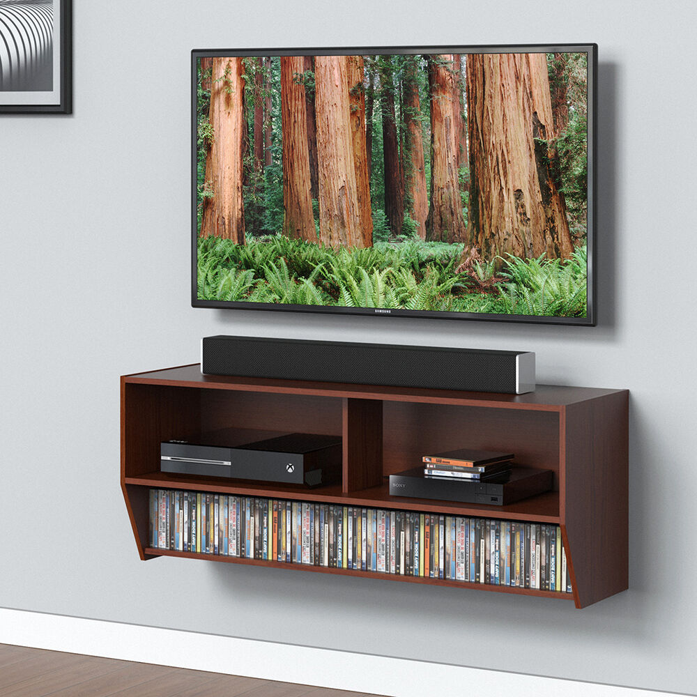 Floating wood tv stand wall mount media entertainment console picture 1 of 7 amipublicfo Images