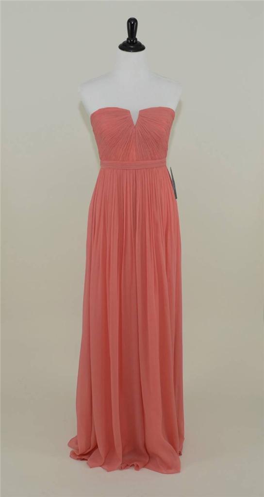 J.CREW Silk Chiffon Nadia Gown 6 Bright Coral Long Bridesmaid Dress ...